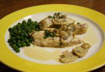 Petto di pollo funghi e piselli